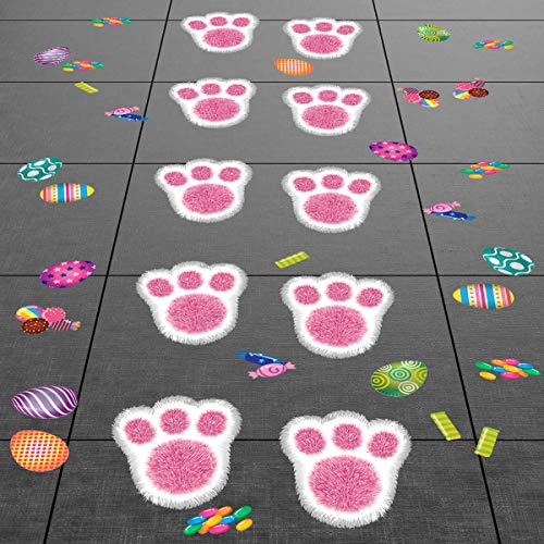 - Colonel Pickles Novelties Easter Decorations Bunny Footprints Kit – 80 Total Paw Print Egg & Candy Floor Decals