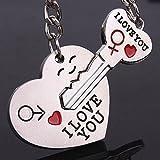1 Set (2 Pcs/Set) Couple Heart Shaped Keyrings Pendants Teen Keys Hook Hooks Key Chains Bang-up Popular Pocket Women Bag Car Keychain
