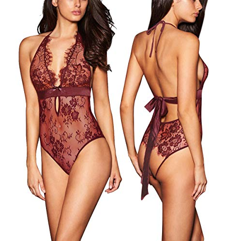 ADHDYL Women Sexy Lingerie Backless Lace Babydoll Teddy Underwear Black (XXL, Wine red) (Backless Teddy)
