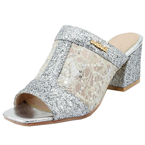 Taoffen Toe Women Mules Silver Sandals Open BrBqwxO