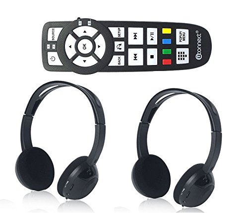 AudioVideo2go DVD Remote Control and Wireless Headphones Compatible with Dodge U-Connect Vehicle Entertainment Systems
