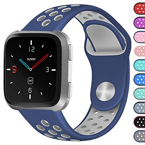 Ouwegaga for Bands for Fitbit Versa Smartwatch Straps Wristbands with Ventilation Holes Blue Grey Small