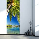 Sea View Beach Landscape Mural Seaside Palm Tree Scenery 3D Stickers On Door Wall Decoration Removable Vinyl Wallpaper
