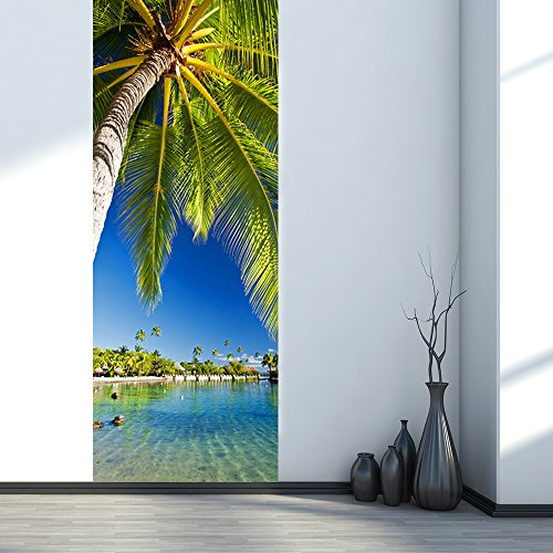 Sea View Beach Landscape Mural Seaside Palm Tree Scenery 3D Stickers On Door Wall Decoration Removable Vinyl Wallpaper by Aiwall