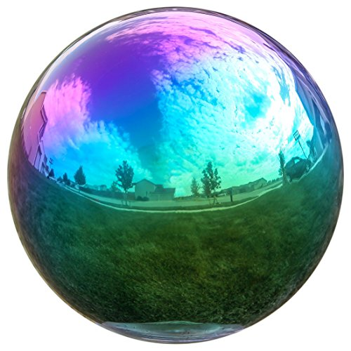 Lily's Home Gazing Globe Mirror Ball in Rainbow Stainless Steel - 12 Inch (Gazing Ball Stands Metal)