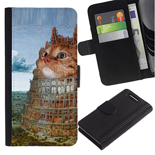 LASTONE PHONE CASE / Lujo Billetera de Cuero Caso del tirón Titular de la tarjeta Flip Carcasa Funda para Sony Xperia Z1 Compact D5503 / Tower Of Babel Cat Orange Art Painting