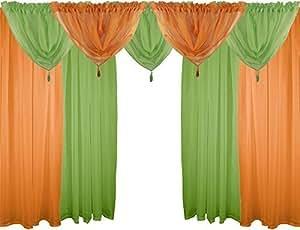 NARANJA Y VERDE 9 piezas Juego de gasa 121,92 cm 122 cm con varilla cortinas y bufandas