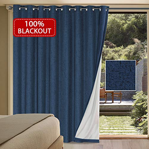Extra Long and Wide 100% Blackout Curtains Rich Textured Linen Waterproof Patio Door Panel Anti Rust Grommet Home Fashion Window Panel Drapes for Bedroom/ Living Room - Navy- 100 x 84 Inch