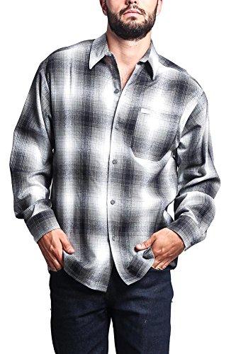 G-Style USA Western Casual Plaid Long Sleeve Button Up Shirt Y2000 - Grey - (Acrylic Shirt)