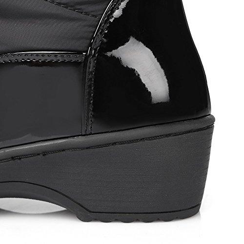 Allhqfashion Dames Zacht Materiaal Rond Dichte Teen Stevige High-top Kitten-hakken Laarzen Zwart
