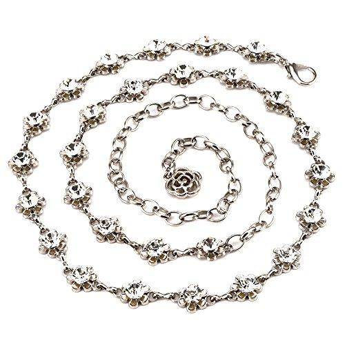 Sparking Crystal Rhinestones Flower Body Chain Skirt Beach Belly Body Waist Chain Jewelry Necklace Women (Silver)