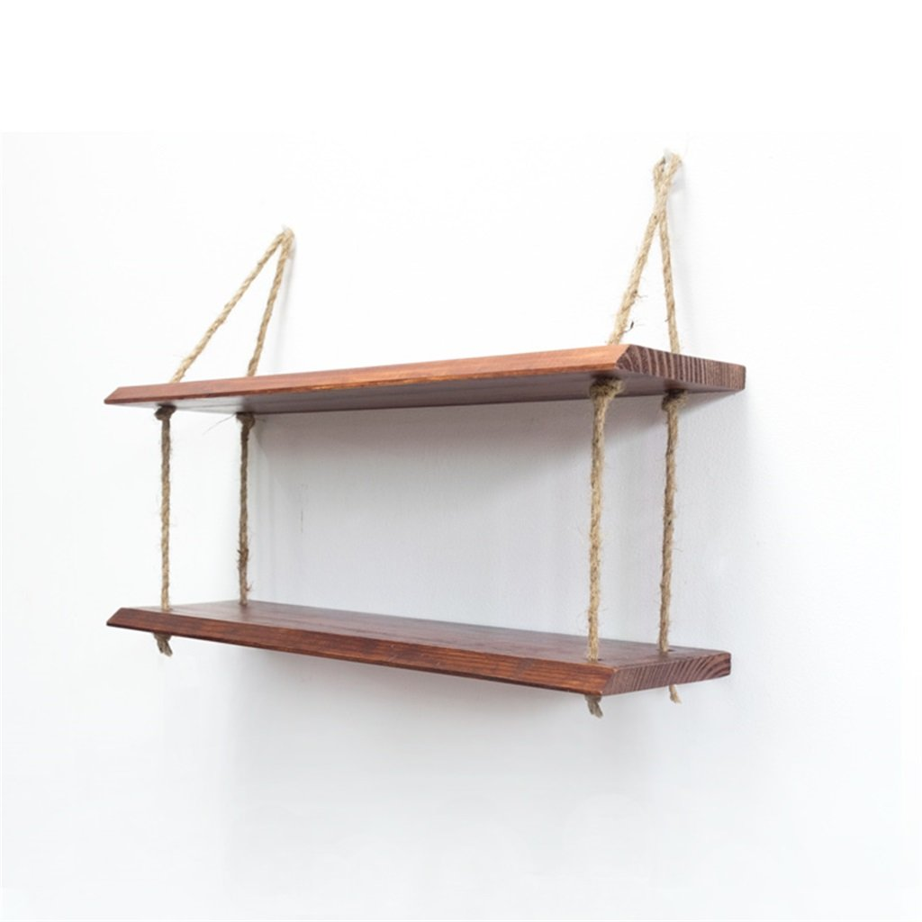 BJLWT Wood Wall Shelf with Hemp Rope Shelves Wall Hanging for Living Room As Bookshelf Storage Rack Mounted Clapboard Decorations Design Organizer (Color : #1, Size : 2 Tiers)