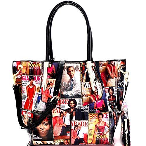 (Magazine Cover Michelle Obama Patent Tote Handbag Wallet SET)
