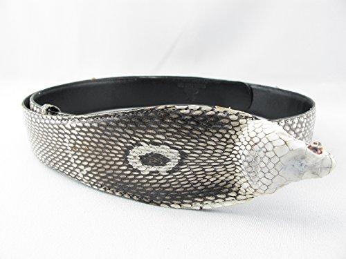Brown Snake Genuine Belt (PELGIO Genuine Cobra Snake Skin with Head Belt 46