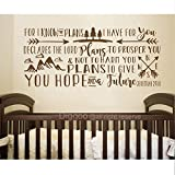Diggoo For I know the plans I have for you Wall Decal Jeremiah 29 Wall Words Scirpture Wall Art Woodland Nursery Decor (Dark brown,13.5'' h x 30'' w)