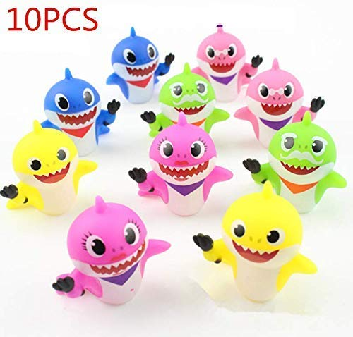 (10PCS shark baby cake topper, Baby shower cup cake decoration,5 colors of ocean theme shark cake topper cake decorations,Baby Shark Birthday Party and Toys)