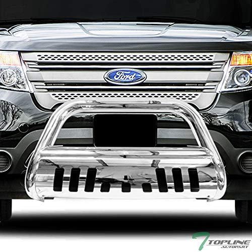 Topline Autopart Polished Stainless Steel Bull Bar Brush Push Front Bumper Grill Grille Guard With Skid Plate For 11-18 Ford Explorer (Brush Explorer Guards)