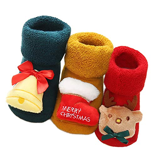 Bienvenu Toddler Baby's Baby Non-Skid Rattle Socks 3 Pairs Cute Christmas Floor Socks,Girl_2