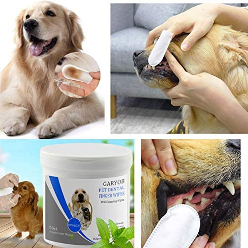 GARYOB Pet Dental Fingers Wipes, Oral Cleansing Teeth Wipes Pads for Dogs and Cats - Optimize Oral Health, Freshen Breath- 50 Wipes