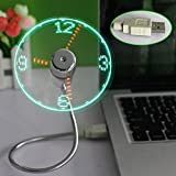 New Portable Flexible USB LED Clock Fans Saytay USB cooler with Stand Real Time Display Function for Desktop Computers and Laptops for home and office for gift (Clock Fan)