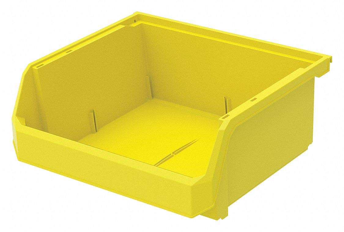 Hang and Stack Bin, Yellow, 14-3/4'' Outside Length, 16-1/2'' Outside Width, 7'' Outside Height