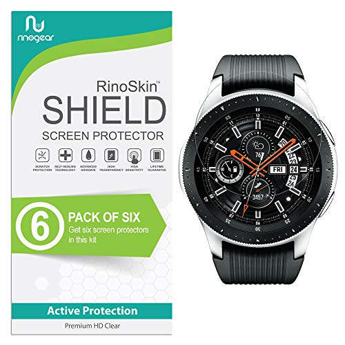 [6-Pack] RinoGear for Galaxy Watch 46mm / Gear S3 Frontier & Classic Screen Protector [Active Protection] Full Coverage Flexible HD Crystal Clear Anti-Bubble Film