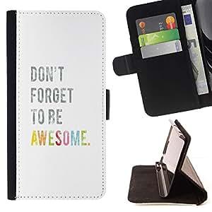 For Sony Xperia Z3 Compact / Z3 Mini (Not Z3) Case , Cita Surf texto blanco- la tarjeta de Crédito Slots PU Funda de cuero Monedero caso cubierta de piel