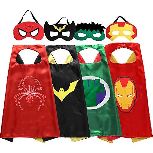 Superhero Costume Set (Zaleny Superhero Kids Dress up Costumes Satin Capes and Felt Masks Set of 4 Super Hero Themed Party)