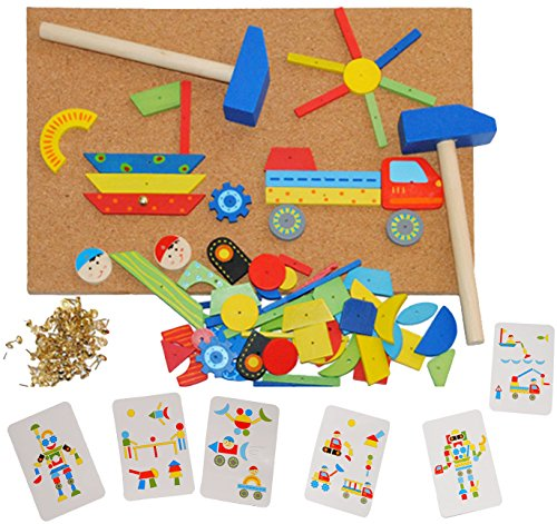 XL - Hammerspiel 229 Teile - Auto - Klopfspiel Nagelspiel Nagel - bunt - 2 Stück Hammer - aus Holz / Hämmerchen - Hämmerchenspiel - Steckspiel - Nägel / Motorikspiel Lernspiel