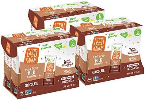 Good Karma Plant-Powered Flaxmilk, Chocolate, 6.75 Ounce Shelf-Stable Carton (Pack of 18)