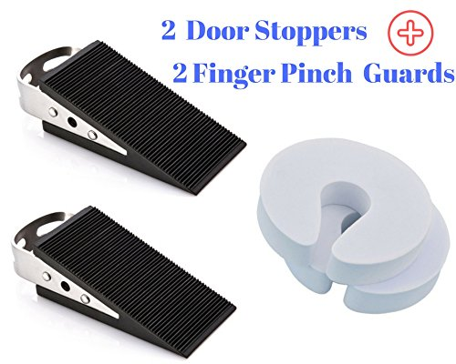 2 Door Stopper Rubber Door Stop Holder For Large & Heavy Duty Doors in Home & Office Plus 2 Finger Pinch Guard Baby Proof Doorstop For Child Safety - All Surface Non Scratching Slip Resistant (Commercial Step 2 Cross)