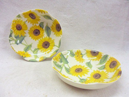 Pair of sunflower petal dishes. Heron Cross Pottery