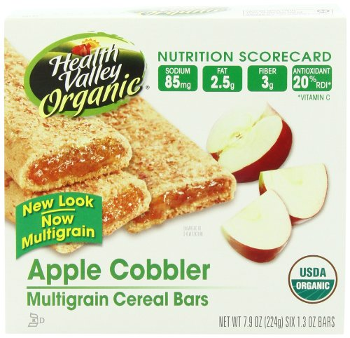 Health Valley Organic Multigrain Cereal Bars, Apple Cobbler, 6 Count (Pack of (Multigrain Cereal Bars)