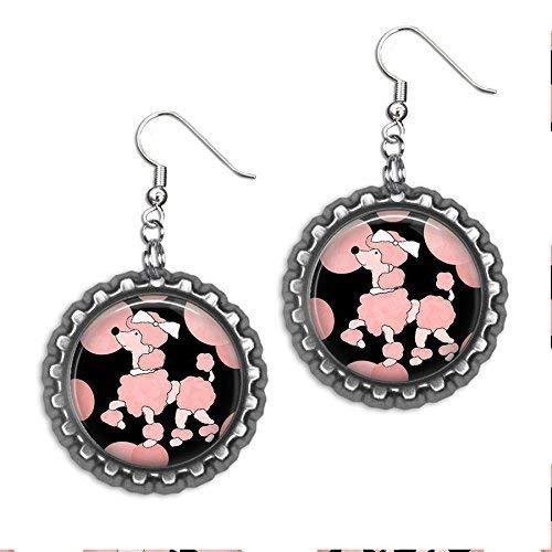 (Pink Poodle Bottle Cap Earrings)