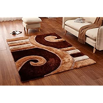 Casa Regina Shaggy Collection   3D Design   Abstract Lines And Swirl Brown  Beige Soft Shag