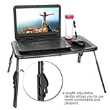 Etuoji Portable Lap desk Folding Adjustable Bed Laptop Table with 2 Cooling Fans + Mouse Pad