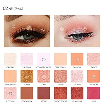 Beauty Essentials United Brand Chill Baby Matte Metallic Eyeshadow Palette 14 Color Waterproof Natural Red Glitter Eye Shadow Pigment Shades Makeup Kits