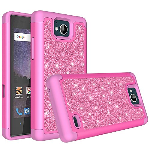 online store b7c0b 14a02 ZTE Majesty Pro Case, ZTE Majesty Pro Plus Case, Glitter Bling Hybrid Case  with [HD Screen Protector] Dual Layer Protective Phone Case Cover for ZTE  ...
