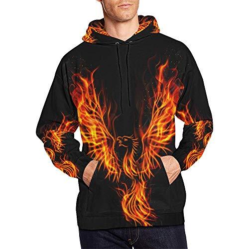 InterestPrint Burning Phoenix Bird All Over Print Hoodies Pullover Hoodie Sweatshirt for Men Adults
