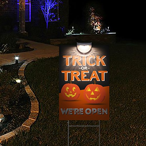 Lit Trick or Treat Halloween Yard Sign - Let Trick or Treaters Know You're Open Halloween Night - Pumpkin Theme (Halloween Sign For Trick Or Treaters)