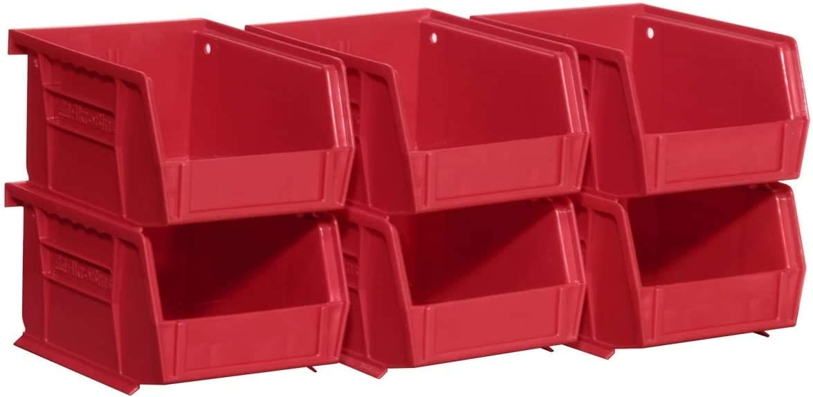 5 3//8 L X 4 1//4W X 3H 6-Pack Clear, Akro-Mils 08212SCLAR 30210 AkroBins Plastic Storage Bin Hanging Stacking Containers,