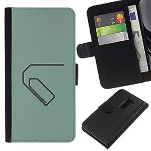 A-type (Paperclip minimalista Verde Gris) Colorida Impresión Funda Cuero Monedero Caja Bolsa Cubierta Caja Piel Card Slots Para LG G2 D800
