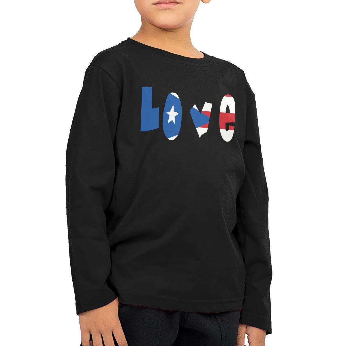Baby Boys Kids Love Puerto Rico Flag ComfortSoft Long Sleeve Tee
