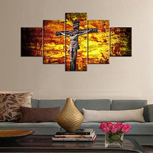 Crucifixion Jesus on the Cross Painting on Canvas Modern Wall Art Home Decor for Living Room Pictures 5 Piece Multi Panel HD Posters and Printed Framed Gallery Wrap Ready to Hang(60''Wx32''H) (Bridge To Holy Cross)