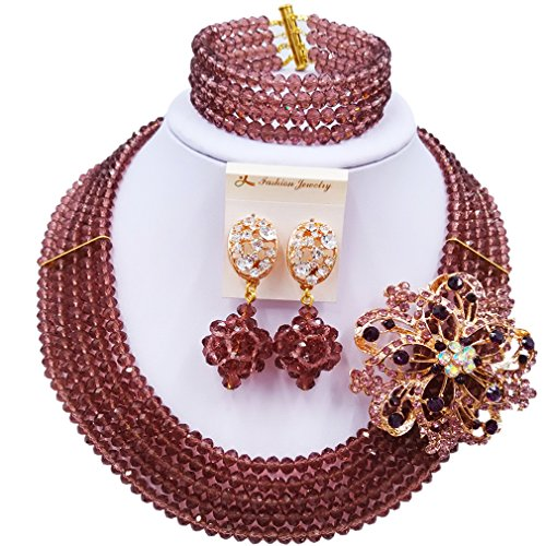 laanc Fashion Lady Jewellery 5 Rows MultiColor Crystal Nigerian Bridel Wedding African Bead Jewelry Sets (Dark Purple) (Two More Days To Halloween Song)
