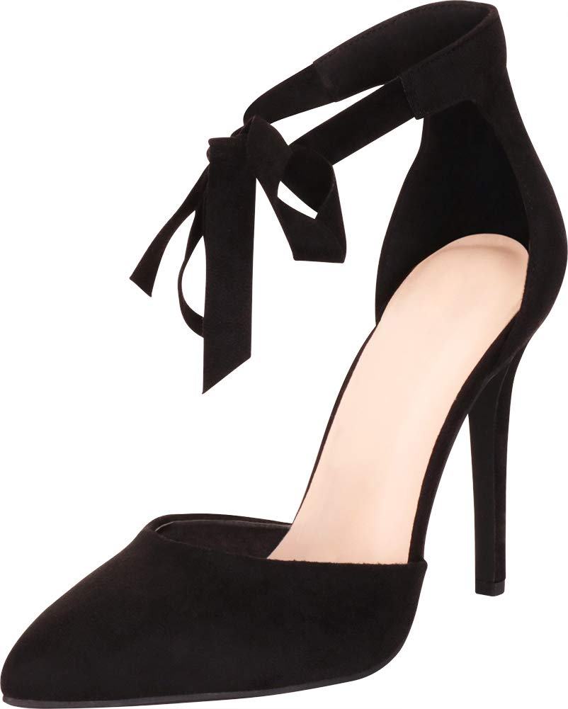 634a71f35561d Cambridge Select Women's Pointed Toe D'Orsay Ankle Tie Bow Stiletto High  Heel Pump