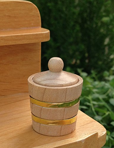 Lid Dollhouse (Miniature Dollhouse Fairy Garden Accessories Small Wood Wooden Bucket Lid)