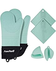 Achef 6in1 Silicone Oven Mitts Kit Cooking Oven Gloves and Pot Holders Hot Pads Pinch Set Non-Slip Textured XL Gloves Mittens w/Soft Cotton Lining for Kitchen Baking BBQ Grilling Microwave Cooking
