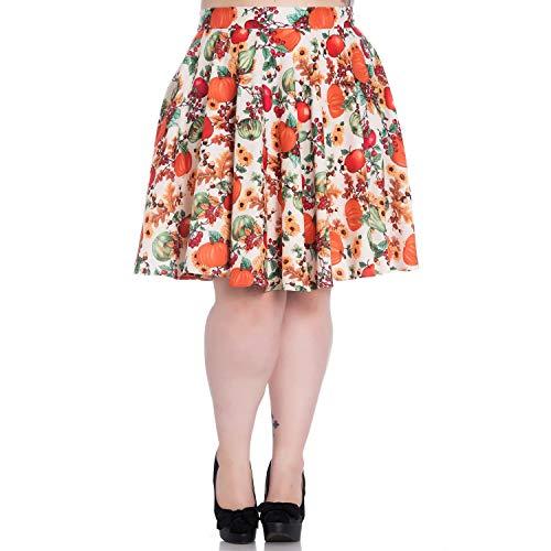 Hell Bunny De Naranja Campana Falda Estampado Floral Calabaza Vintage Otoño Crema dpd04Prq