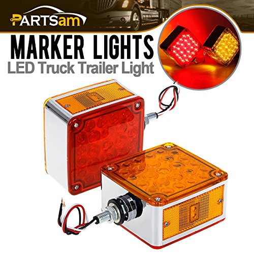 Partsam 2pcs Square Dual Double Face Fender Stop Turn Signal Tail 52 LED Amber/Red Truck Trailer Stud Pedestal Lights w/Chrome Housing Waterproof for Kenworth Peterbilt Freightliner Western Star (Dual Stops)